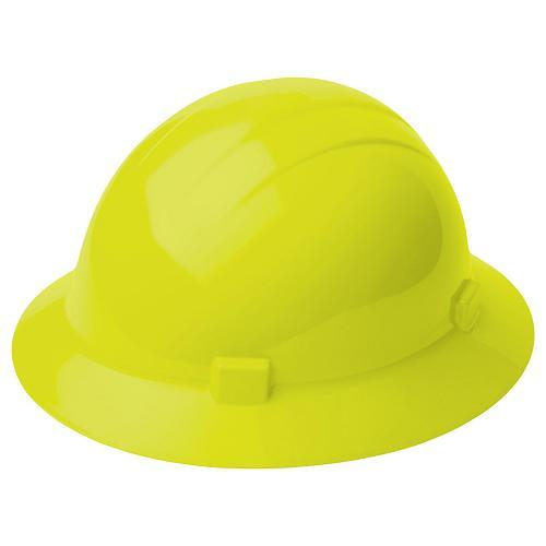 Americana Hard hat, 4-pt ratchet, full brim, non vented, color: hi-viz yellow