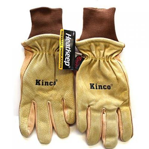Gloves, golden color grain pigskin, leather back, Heatkeep thermal lining, size small