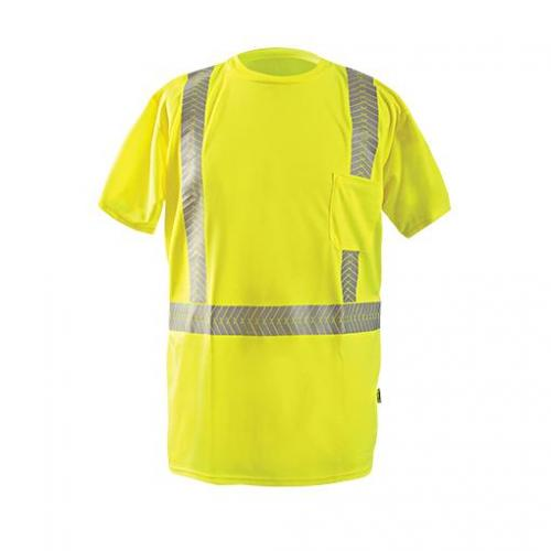 Short Sleeve T-shirt, Wicking Polyester Birdseye, Yellow, Class 2, size Medium