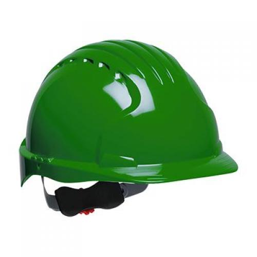 Hard hat, evolution deluxe, non vented, standard brim, class E, green