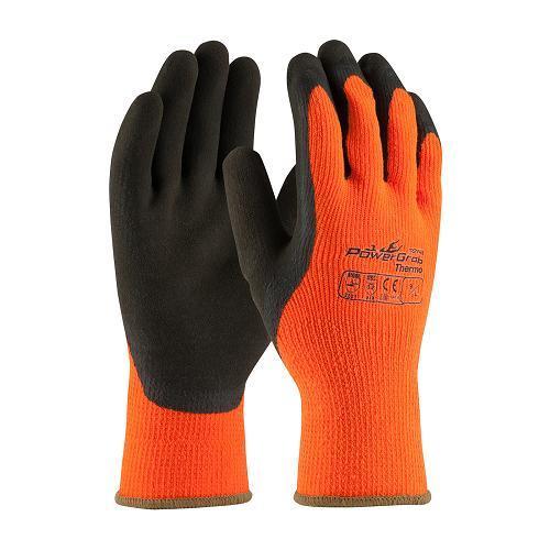 Gloves, powergrab thermo, microfinish grip, hi-vis orange, size medium